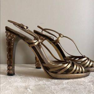 MIU MIU Crystal Encrusted Velvet/Leather Heels